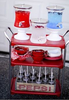 I bought one of these carts recently at an auction...been trying to decide what color to paint.  This inspires me to do red and then I could also use for Valentines and Christmas. Pic Source - It's Overflowing Blog