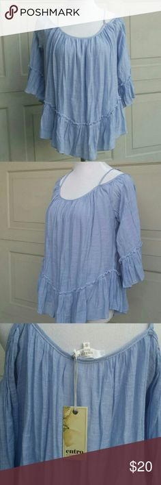 """Peasant Style Cold Shoulder Top So pretty, cold shoulder baby blue crinkle fabric loose fitting top, unlined, adjustable straps. Measurements are approximate : Chest 20"""", Length 20"""". Reposh because my daughter didn't care for the style. Entro Tops"""