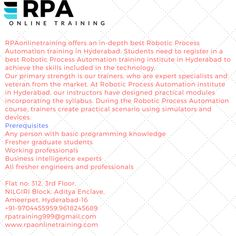 RPAonlinetraining.com is the best place to learn Robotic process Automation if do you want to learn Join us