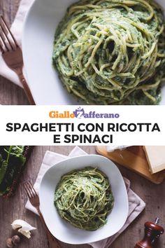 Gli SPAGHETTI con RICOTTA E SPINACI sono un primo piatto, fecile e veloce. Il risultato è una pasta cremosa, invitante e dal sapore delicato! Pronta in 15 minuti!  #giallozafferano #pasta #primi #primipiatti #primifacili #primiveloci #spaghetti #ricotta #spinaci #spinach #cheese #creamy #ricettefacili #ricetteveloci  [Easy Spinach Ricotta Pasta] Pasta Cremosa, Spaghetti, Crepes, Lasagna, Vegan Vegetarian, Cabbage, Easy Meals, Cooking Recipes, Vegetables