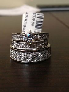 swarovski zarconia his her men women sterling silver trio set wedding ring cubic - Wedding Ring Trios