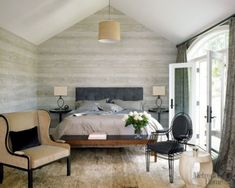 Modern neutral + gray bedroom + faux bois wallpaper, from Met Home by xJavierx, via Flickr