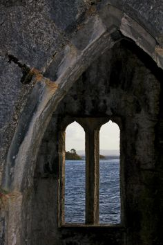 Lough Corrib through the watchtower at Ashford Castle - County Galway, Ireland