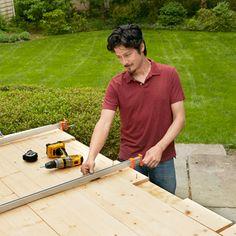 assembling the boards for the sliding barn door