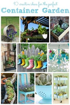 10 Creative Container Gardens ~ lots if cute ideas to help brighten your porch with unique plant pots
