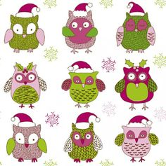 Owls Christmas wall picture by LindaPatterns on Etsy, $5.50