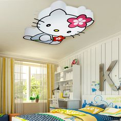 Modern LED Hello Kitty Cat Ceiling Lights Fixture Children Kids Bed Room Living Room Ceiling Lamps Home Indoor Lighting