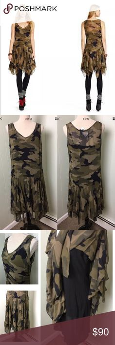 "POLO RALPH LAUREN Camo-print Flounced Silk Dress POLO RALPH LAUREN Green Camo-print Flounced Silk Dress Size 12 New with tags, retails for $398 100% silk Laying Flat:  Length 36-37"", waist 18"" armpit to armpit 19"" Color: Green combo. Polo by Ralph Lauren Dresses Mini"