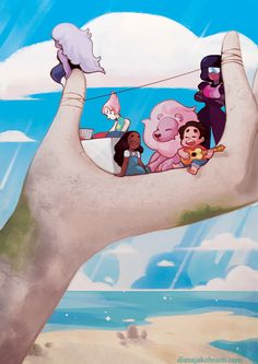 The sun is bright, our shirts clean, we're sitting here above the sea. Steven Universe Wallpaper, Lion Steven Universe, Perla Steven Universe, Steven Universe Garnet, Finn The Human, Steven Y Connie, Wallpaper Aesthetic, Chibi, Fan Art