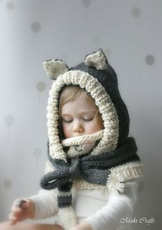KNITTING PATTERN cat hood and cowl set Simba (baby toddler child adult sizes) (6.50 USD) by MukiCrafts