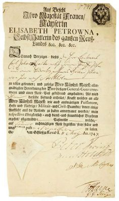 Passport of Russian Tsar Peter III Fyodorovich Romanov (born Karl Peter Ulrich) (1728-1762) Germany. Autographed printed document for travel signed Peter Prince zur Holstein, written in German & dated 11 May 1747. Son of Duke Charles Frederick (1700-1739) Holstein-Gottorp, Germany & Grand Duchess Anna Petrovna Romanova (1708-1728) Russia. Husband of Catherine II the Great (1729-17 Nov 1796) Germany.