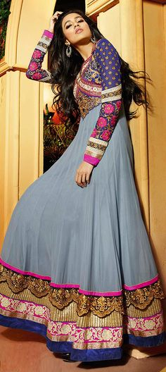 433751: Black and Grey color family unstitched Anarkali Suits.