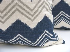 Decorative Throw Pillows 20 x 20  Pillow Covers Blue Gray Pillow Missoni Pillow Chevron Pillow Cover Navy Blue Printed Fabric both sides