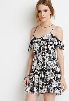 Floral Print Open-Shoulder Dress | Forever 21 - 2000131605