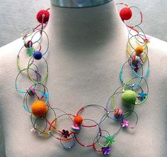 Felt and Bead Necklace  with Magnetic Clasp  from Chickoteria  Copyright © Chickoteria 2012