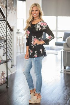 You're sure to love wearing this sweet blouse season after season! Featuring a gorgeous floral print in black, light pink, sage, white, and green, it's a timeless print on a wonderfully chic and trend
