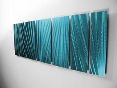 """Main Attraction"" 68""x24"" Tropical Ocean Blue Aluminum Large Modern Abstract Metal Wall Art Sculpture Indoor / Outdoor"