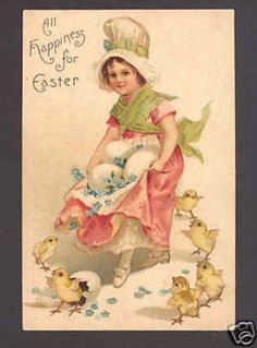 CLAPSADDLE EASTER GIRL,HATCHING CHICKS,EGG,OLD POSTCARD (04/02/2010)