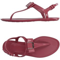 Bally Thong Sandal ($96) ❤ liked on Polyvore featuring shoes, sandals, pastel pink, bally shoes, pink shoes, rubber sole shoes, pastel pink shoes and bow flat sandals