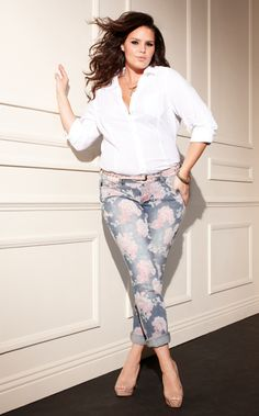 Torrid outfit with floral jeans. Don't know if I can Rick the floral jeans, but they sure are pretty!