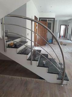 Outdoor Stair Railing, Modern Stair Railing, Staircase Handrail, Modern Stairs, Staircase Design, Steel Railing Design, Balcony Railing Design, Living Room Partition Design, Room Partition Designs