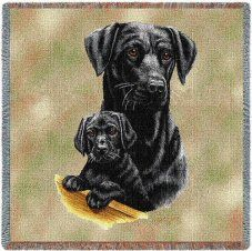 Black Labrador & Puppy Throw