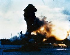 USS Arizona's forward magazines exploding during the Pearl Harbor attack US Territory of Hawaii shortly after 0800 hours 7 December 1941.