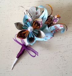 Paper Flower Origami Corsage Buttonhole by LilyBelleKeepsakes