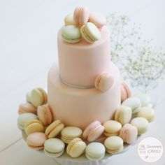 Soft pastel colour macaron cake 2 Tier Birthday Cakes, Macaron Cake, Cupcakes, Pastel Colors, Girl Birthday, Bakery, Colour, Inspiration, Decorating Cakes