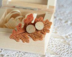 Pine wood earrings wooden ear studs pine tree by MyPieceOfWood