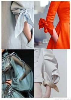 tie sleeve details: the orange one!My Complex Style. Kurti Sleeves Design, Sleeves Designs For Dresses, Sleeve Designs, Blouse Designs, Fashion Details, Diy Fashion, Fashion Dresses, Fashion Design, Fashion Vocabulary