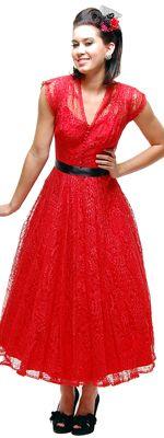 Authentic Vintage 1940s Red Lace Deep V-Neck Prom Dress - Size 0/2 (14235) van Authentic Vintage - Oh darling, we just l...Price - $180.00-ko74arUG