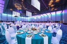 Fringe pieces hung from the ceiling to add a fun element to this event at the Grand Ballroom