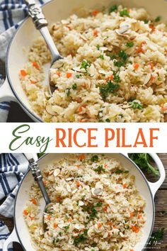 This simple and easy Rice Pilaf recipe is a flavorful side dish that pairs nicely with just about any entrée -- from grilled fish to roasted chicken or seared steak. Vegetables like carrots, celery and onion simmer with the rice in chicken broth for a quick and delicious addition to your next family dinner. Skip the boxed mix of Rice a Roni, because rich, homemade rice pilaf is easier than you think!