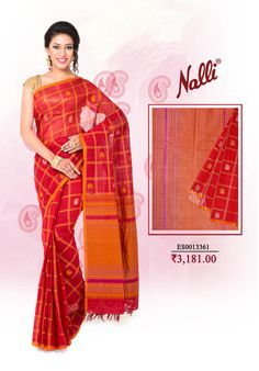 Maroon Kanchi Cotton Saree with Checks with thread butta on body and thread border. click here to shop now: http://www.nallisilks.com/store/catalog/product/view/id/12553/s/maroon-kanchi-cotton-saree