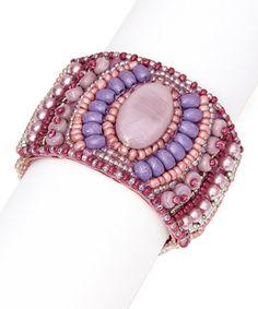 Another great find on #zulily! Purple & Lilac Tribal Bead Stretch Bracelet by Kada Jewelry #zulilyfinds