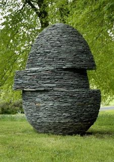 Displaced Egg by Max Nowell: Westmorland green slate. 7 feet tall.