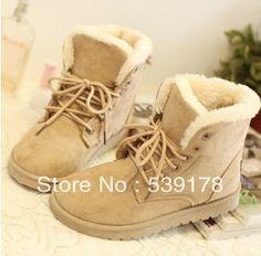 Zapatos de las mujeres del invierno del talón plano de la nueva moda de cuatro colores lindos botas de moda coreana de la nieve de invierno caliente de la mujer casual botas-inBoots de zapatos ...