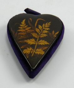 Antique 19th century Mauchline Fern Ware heart shaped sewing needle pin cushion
