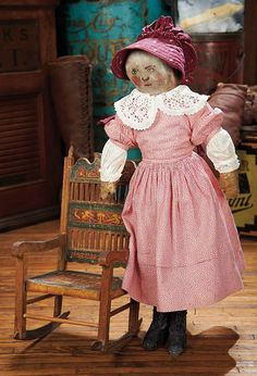 The Blackler Collection (Part 2 of 2-Vol set): 444 American Cloth Folk Doll with Homely Oil-Painted Face