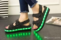 Sexy wedge sneakers, cute sandal, and exotic ladies shoes, any kind of new summer magic platform sandals usb charging cool led light grid platform sandals shoe size 35~40 can make your summer much more beautiful, and find skk888 for more!