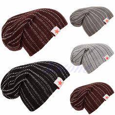 efa09fc9d3c Click to Buy    Winter Men Women Knit Beanie Reversible Slouch Skull Chunky