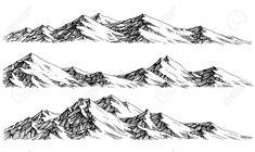 Mountain Stock Vector Illustration And Royalty Free … Berg Lizenzfreie Fotos, Bilder Und Stock Fotografie. Mountain Sketch, Mountain Drawing, Landscape Sketch, Landscape Drawings, Landscape Art, Landscapes, Cute Animal Drawings, Cute Drawings, Pencil Drawings