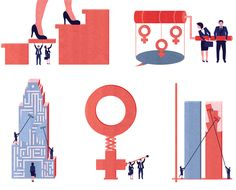 Project: Next Frontiers in Gender Diversity: spot illustration series on things done in field of gender diversity and more women in leadership. Client: Global Management Consulting Firm, 2014. Illustrator: Illustrator: Kotryna Zukauskaite.