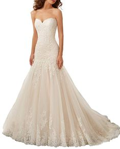 24443d77aacb3 Datangep Women's Sweetheart Lace Applique Mermaid Wedding Dress with Lace  on Back Review Country Style Wedding