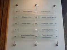 Wall-mounted directory signage: acrylic printed panels with solid vinyl application.  Fixed with stand-off hardware, fixings and cabling.