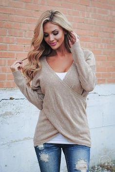 Bundle Me Up Surplice Sweater - Tan - Closet Candy Boutique http://bellanblue.com