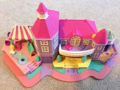 Vintage-Polly-Pocket-Light-Up-Magical-Mansion-Pollyville-Bluebird-House-Purple