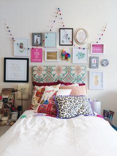 My boho chic Anthropologie inspired dorm room at SCAD -gallery wall, DIY ikat headboard