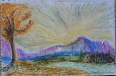 Autumn Sunrise by Darla Vaughan Original Oil Pastel Fine Art Painting Mountain Drawing Landscape Inspirations Fall tranquility by LoveStreetUSA on Etsy